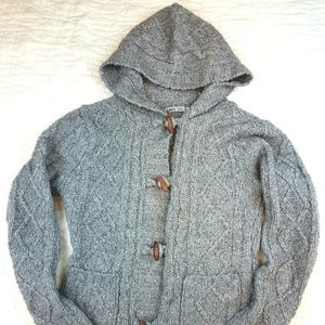 Chunky Cable Knit Gray Wooden Button Up Sweater
